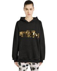 Jeremy Scott for adidas - Hooded Back Zip Cotton Sweatshirt - Lyst
