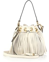 Milly Essex Small Fringed Hobo Bag white - Lyst