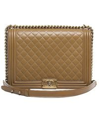 Chanel Pre-owned Lambskin Quilted Large Boy Bag - Lyst