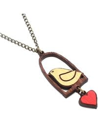 Manolo Bird And Love Necklace Ahoy Gold - Lyst