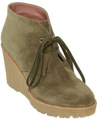 RED Valentino 100mm Suede Wedge Ankle Boots - Natural