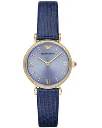 Emporio Armani Ladies Gold Tone Leather Watch - Lyst