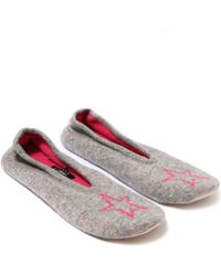 CASH CA - Mid Grey Cashmere Star Slippers - Lyst