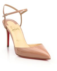 shoes louboutin replica - Christian louboutin Baila Spiked Patent Leather Ankle-strap Pumps ...