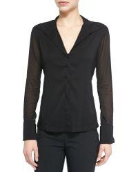 Donna Karan New York Sheer Long-sleeve Blouse with Collar - Lyst