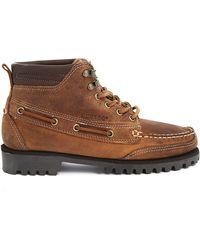Sebago Gibraltar Brown Leather Boots - Lyst