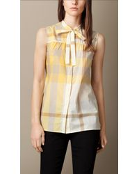 Burberry Exploded Check Cotton Voile Sleeveless Shirt - Lyst