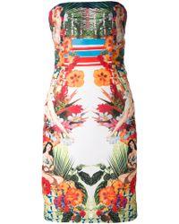 Pinko Mixed Print Strapless Dress - Lyst