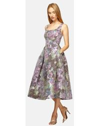 Kay Unger Floral Print Midi Fit & Flare Dress multicolor - Lyst