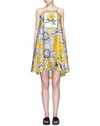 Chictopia - Floral Print Appliqué Silk-Cotton Halterneck Dress - Lyst