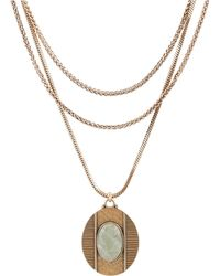 Lucky Brand - Gold Tone And Mint Stone Multi Layer Necklace - Lyst