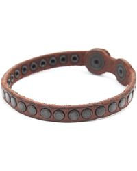 Diesel Agelo Brown Studded Leather Bracelet - Lyst