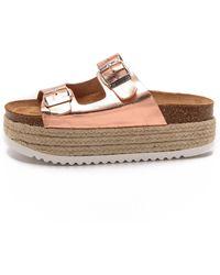 Jeffrey Campbell Aurelia Platform Espadrille Sandals - Rose Gold - Lyst