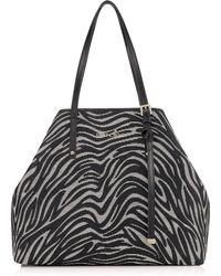 Jimmy Choo Sasha Medium Zebra-Patterned Raffia & Leather Tote black - Lyst