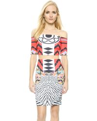 Clover Canyon Toucan Off The Shoulder Crop Top - Red - Lyst