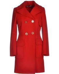 Versace Red Coat - Lyst