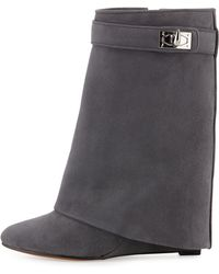 Givenchy   Suede Shark-lock Fold-over Boot   Lyst