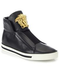 Versace First Idol Leather High-Top Sneakers black - Lyst