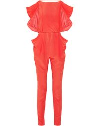 Vionnet - Draped-Back Silk Jumpsuit - Lyst