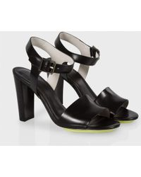 Paul Smith Black Leather 'Irvene' Ankle Strap Sandals - Lyst