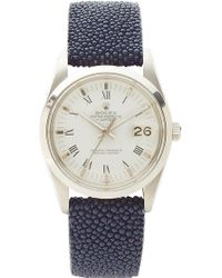 CMT Fine Watch And Jewelry Advisors Vintage Rolex Date Roman Numeral with Blue Chagrin Band