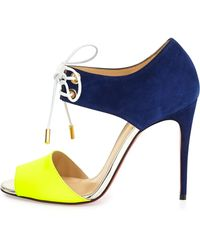Christian Louboutin Mayerling Bicolor Fluorescent Red Sole Sandal - Lyst