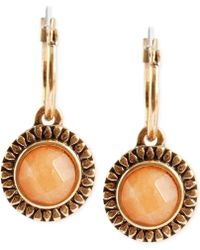 Lucky Brand Gold-Tone Carnelian Drop Earrings - Lyst