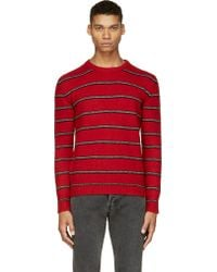 Saint Laurent Red and Grey Striped Wool Cashmere Sweater - Lyst