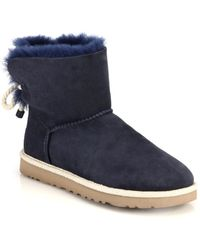 Ugg Selene Short Shearling-Lined Suede Boots blue - Lyst