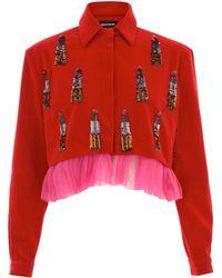 House Of Holland Ruffled Velvet Jacket - Lyst