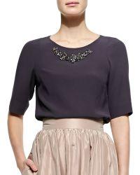 Jenny Packham Half-sleeve Bead-neck Top - Black