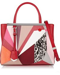Fendi 2jours Small Textured-leather Watersnake and Calf Hair Shopper - Lyst