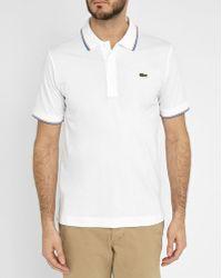 Lacoste   White Sport Piqué Polo Shirt With Orange/blue Collar Trim   Lyst