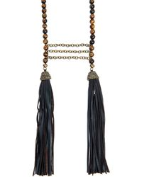 Zeus+Dione - Tiger-Eye Stone And Leather-Tassel Necklace - Lyst