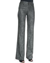 Nanette Lepore Paperback Wide-leg Patterned Suit Pants Charcoal 0 - Lyst