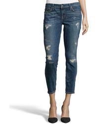 Textile Elizabeth And James Lovesick Distressed Stretch Denim 'Ozzy' Skinny Jeans - Lyst