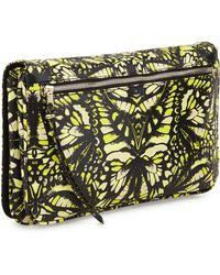 McQ by Alexander McQueen Butterfly Print Glazed Leather Clutch Bag Yellowmintkhaki - Lyst
