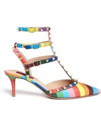Valentino Rockstud 1973' Rainbow Caged Leather Pumps multicolor - Lyst