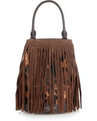 Burberry Prorsum - Fringed Suede And Calf-hair Bucket Bag - Lyst