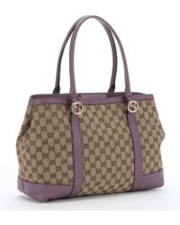 Gucci Lilac And Ebony Gg Canvas 'Miss Gg' Tote purple - Lyst