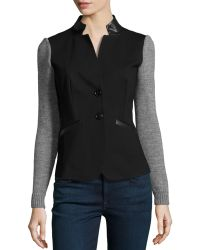 Lafayette 148 New York Faux Leather Trimmed Combo Jacket - Lyst