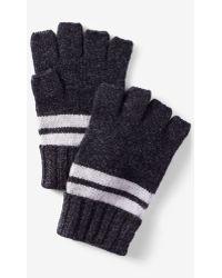 Express Striped Convertible Cuff Fingerless Gloves - Gray