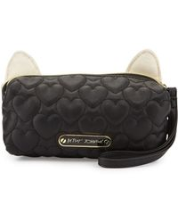 Betsey Johnson - Kitchi Cat Quilted Heart Cosmetics Bag - Lyst