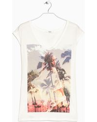 Mango Printed T-Shirt - Lyst