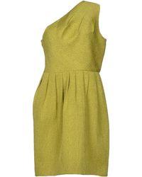 Halston Heritage Green Short Dress - Lyst