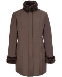Cc | Longline Fur Trim Quilted Coat | Lyst