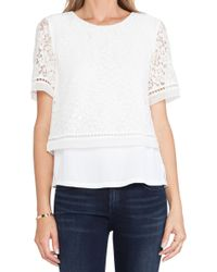 Rebecca Taylor Lace Overlay Top - Lyst