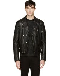 Surface To Air - Black Leather Dave Biker Jacket - Lyst