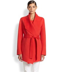 ESCADA Belted Cashmere-Blend Knit Coat - Lyst