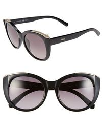 Chloé 'Dallia' 55Mm Rounded Cat Eye Sunglasses - Lyst